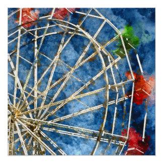 Watercolor Ferris Wheel in Santa Cruz California