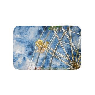 Watercolor Ferris Wheel in Santa Cruz California Bath Mat