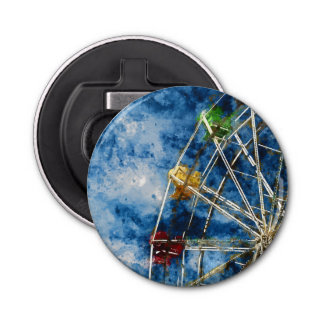 Watercolor Ferris Wheel in Santa Cruz California Bottle Opener