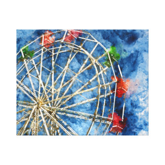 Watercolor Ferris Wheel in Santa Cruz California Canvas Print