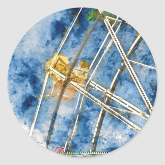 Watercolor Ferris Wheel in Santa Cruz California Classic Round Sticker