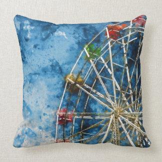 Watercolor Ferris Wheel in Santa Cruz California Cushion