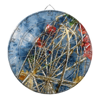 Watercolor Ferris Wheel in Santa Cruz California Dartboard