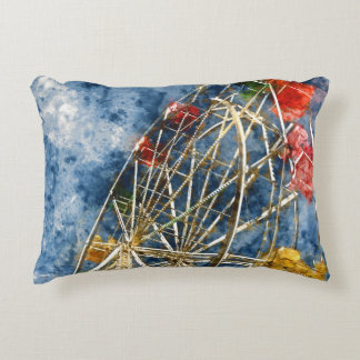 Watercolor Ferris Wheel in Santa Cruz California Decorative Cushion