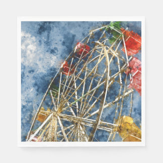 Watercolor Ferris Wheel in Santa Cruz California Disposable Serviette