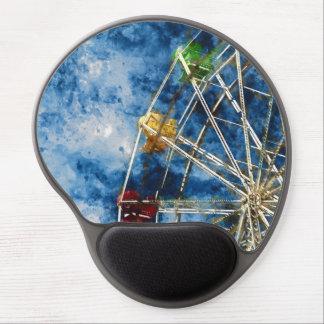 Watercolor Ferris Wheel in Santa Cruz California Gel Mouse Pad