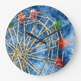 Watercolor Ferris Wheel in Santa Cruz California Large Clock