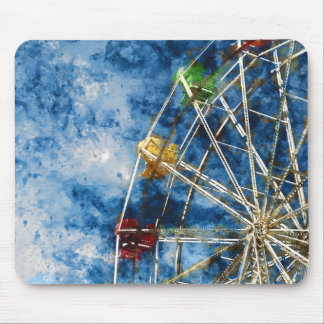 Watercolor Ferris Wheel in Santa Cruz California Mouse Pad
