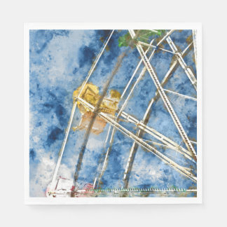 Watercolor Ferris Wheel in Santa Cruz California Paper Napkin