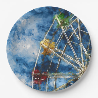 Watercolor Ferris Wheel in Santa Cruz California Paper Plate