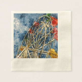 Watercolor Ferris Wheel in Santa Cruz California Paper Serviettes