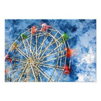Watercolor Ferris Wheel in Santa Cruz California Photo