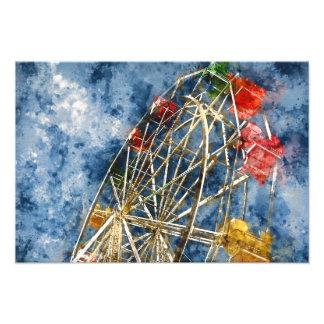 Watercolor Ferris Wheel in Santa Cruz California Photo Art