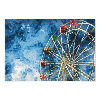 Watercolor Ferris Wheel in Santa Cruz California Photograph