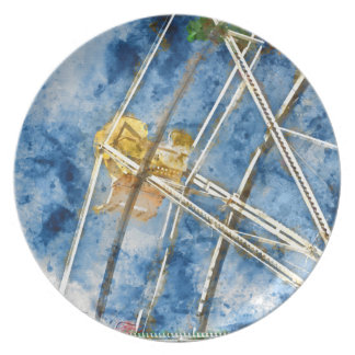 Watercolor Ferris Wheel in Santa Cruz California Plate