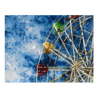 Watercolor Ferris Wheel in Santa Cruz California Postcard