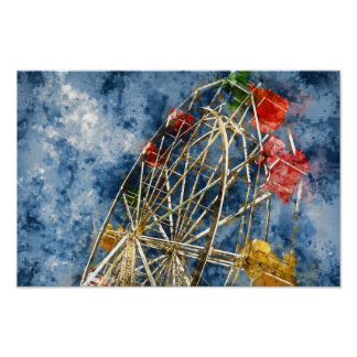 Watercolor Ferris Wheel in Santa Cruz California Poster