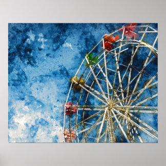 Watercolor Ferris Wheel in Santa Cruz California Poster