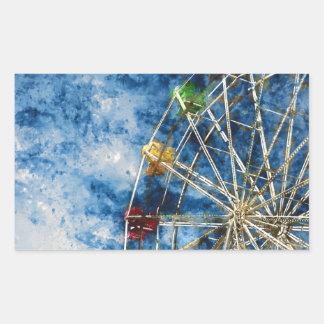 Watercolor Ferris Wheel in Santa Cruz California Rectangular Sticker