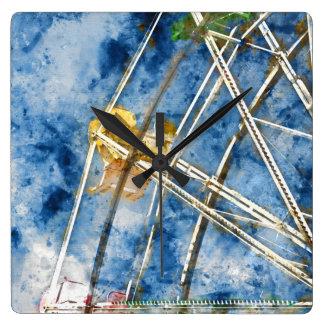 Watercolor Ferris Wheel in Santa Cruz California Square Wall Clock