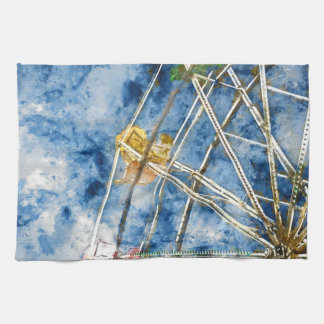 Watercolor Ferris Wheel in Santa Cruz California Tea Towel