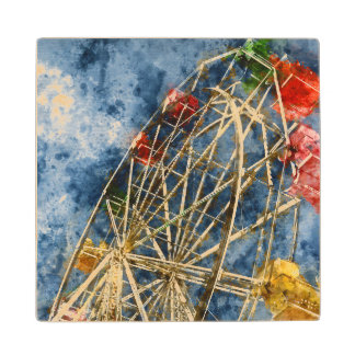 Watercolor Ferris Wheel in Santa Cruz California Wood Coaster