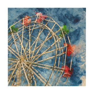 Watercolor Ferris Wheel in Santa Cruz California Wood Print