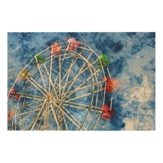 Watercolor Ferris Wheel in Santa Cruz California Wood Wall Art