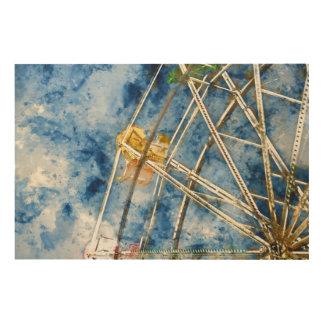 Watercolor Ferris Wheel in Santa Cruz California Wood Wall Decor