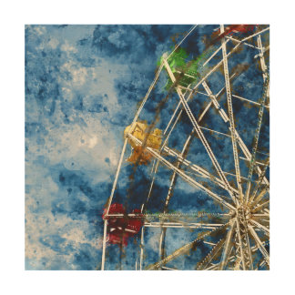 Watercolor Ferris Wheel in Santa Cruz California Wood Wall Decor