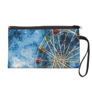 Watercolor Ferris Wheel in Santa Cruz California Wristlet