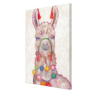Watercolor Festival Llama Canvas Print