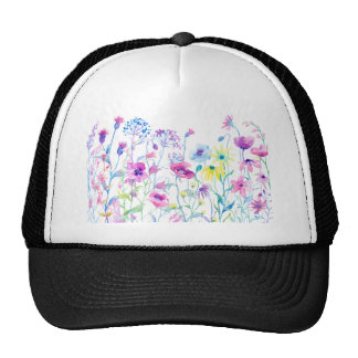 Watercolor Field of Pastel, Wildflower Meadow Cap