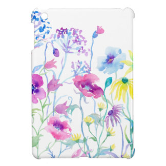 Watercolor Field of Pastel, Wildflower Meadow Cover For The iPad Mini