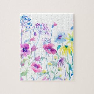 Watercolor Field of Pastel, Wildflower Meadow Jigsaw Puzzle
