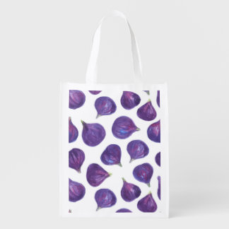 Watercolor figs pattern reusable grocery bag