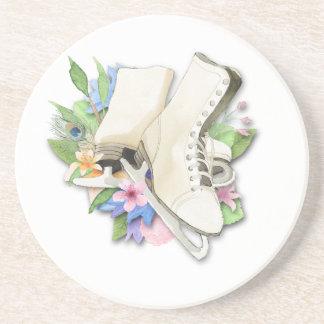 Watercolor Figure Skates Custom Giftware Drink Coasters