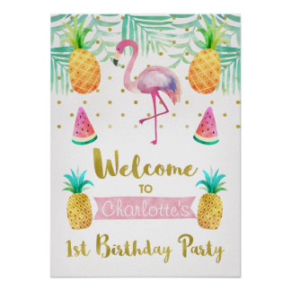 Watercolor Flamingo 1st Birthday Welcome Poster