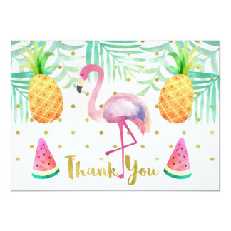 Watercolor Flamingo Birthday Thank You Card