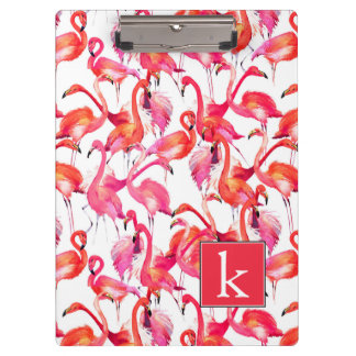 Watercolor Flamingo In Watercolors | Add Your Name Clipboard