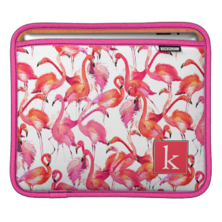 Watercolor Flamingo In Watercolors | Add Your Name iPad Sleeves