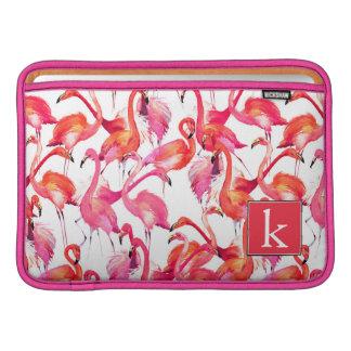 Watercolor Flamingo In Watercolors | Add Your Name MacBook Air Sleeves