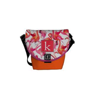 Watercolor Flamingo In Watercolors | Add Your Name Messenger Bags