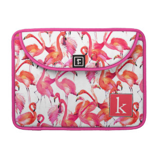 Watercolor Flamingo In Watercolors | Add Your Name Sleeve For MacBooks