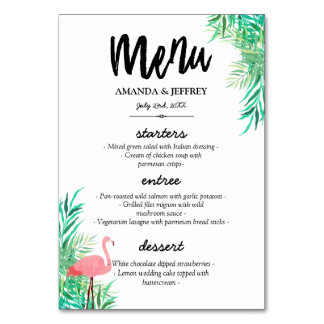 Watercolor Flamingo & Palm Leaves Wedding Menu Card