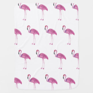 Watercolor Flamingo Pattern on a Baby Blanket