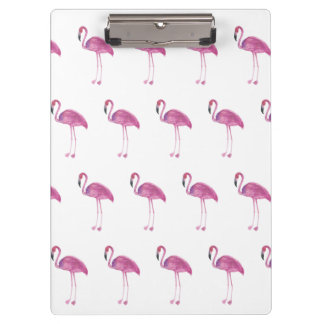 Watercolor Flamingo Pattern on a Clipboard