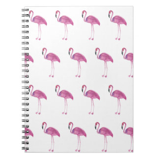 Watercolor Flamingo Pattern on a Notebook