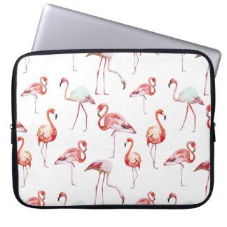 Watercolor flamingo pattern tropical laptop sleeve