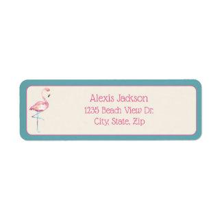 Watercolor Flamingo Return Address Label